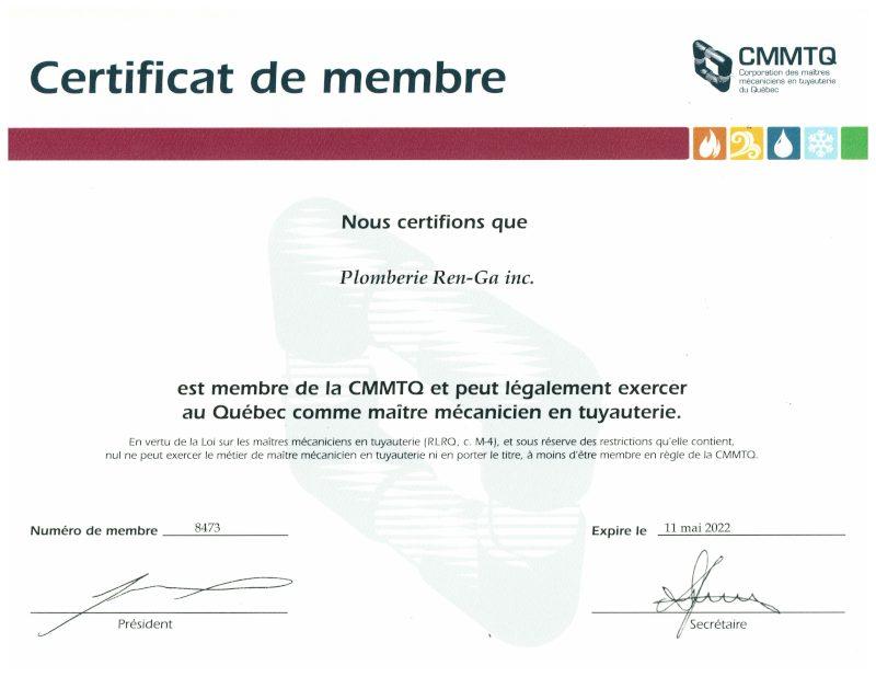 , Licences & certifications, Plomberie Ren-Ga
